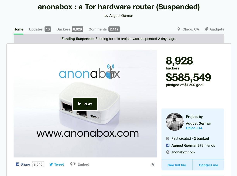 Anonabox suspended
