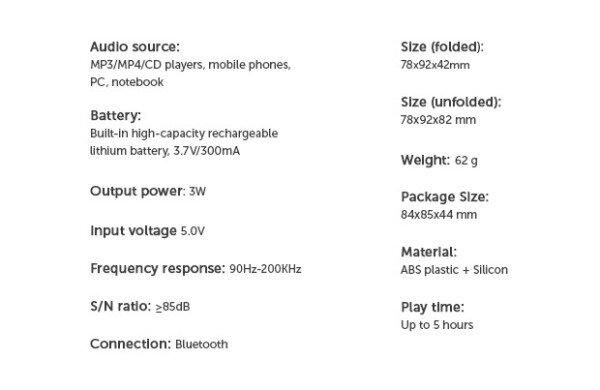 Технические характеристики SSSSSpeaker
