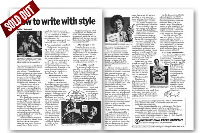 kurt vonnegut writing style If you feel the need for tips on developing a writing style, you probably don't look right to the institute of electrical and electronics engineers' journal transactions on professional communications you certainly don't open such a publication expecting such tips from novelist kurt vonnegut, a.